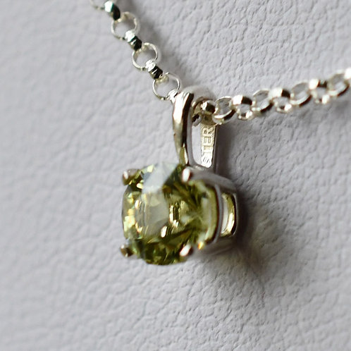 Sterling Silver Pendant with .56 ct. Round Yellow Mali Garnet