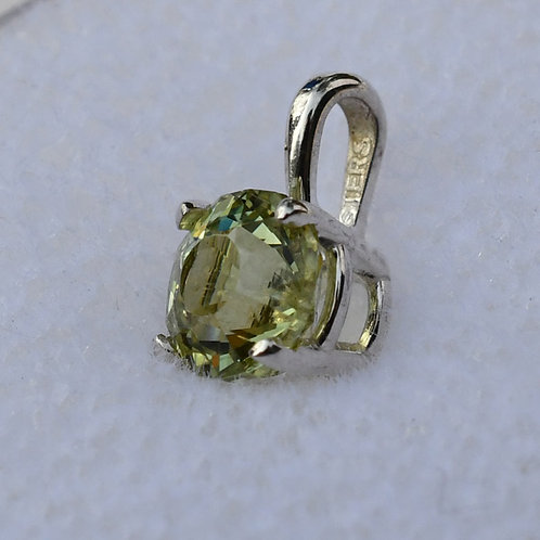 Sterling Silver Pendant with .68 ct. Round Light Yellow Tourmaline