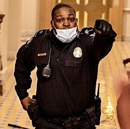Black  officer in a viral video seen leading mob away from capitol chamber is deemed as a hero