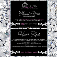 A hair brand thank you card design with silver glitter, diamonds and pink