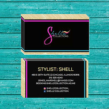 A hair stylist Business card design with gold glitter