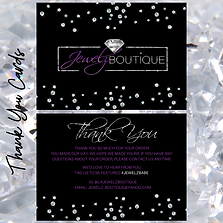 A boutique thank you card design with silver glitter, diamonds and purple