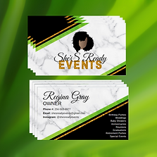 An event planner Business card design with gold glitter and green