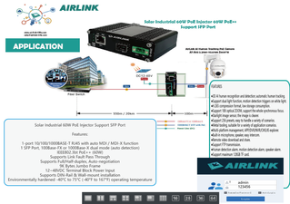 AirLink Solar Industrial PoE Injector 60W PoE ++ Applicaion for PTZ Dome cameras