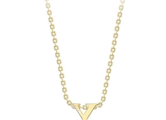 Y Yellow Gold Pendant & Chain