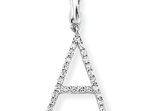 A White Gold & Diamond Initial Pendant
