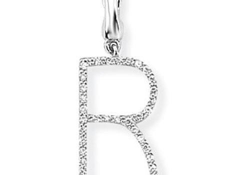 R White Gold & Diamond Initial Pendant