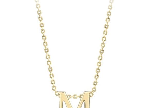 M Yellow Gold Pendant & Chain