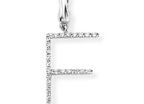 E White Gold & Diamond Initial Pendant