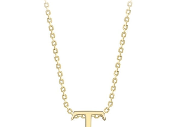 T Yellow Gold Pendant & Chain