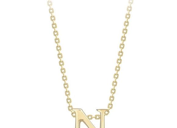 N Yellow Gold Pendant & Chain
