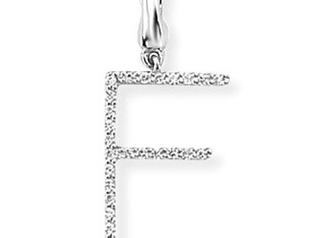 F White Gold & Diamond Initial Pendant
