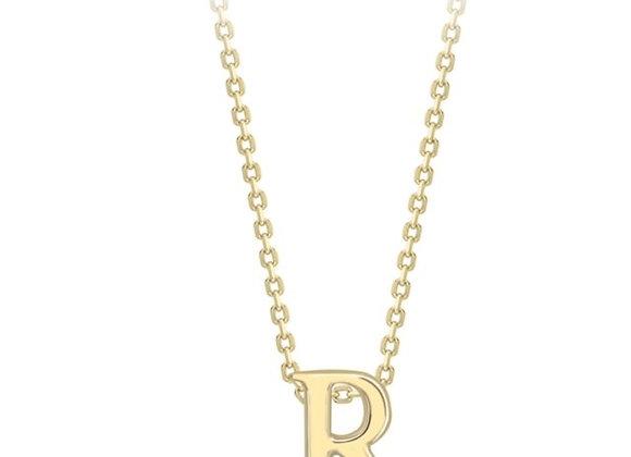 R Yellow Gold Pendant & Chain