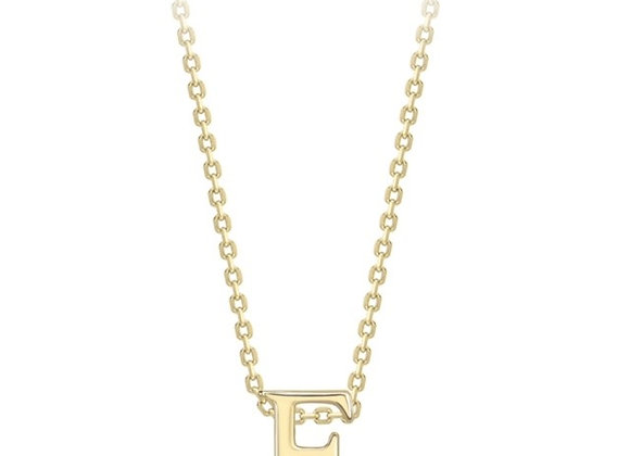 E Yellow Gold Pendant & Chain