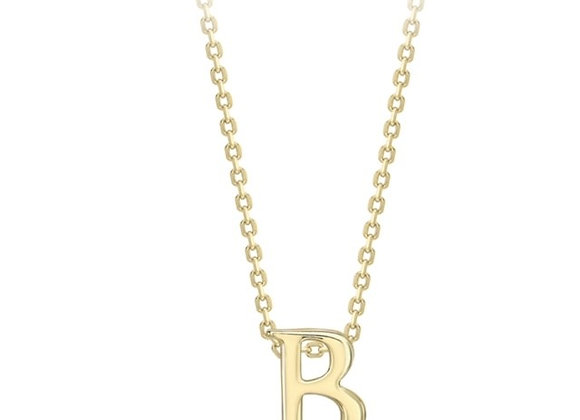 B Yellow Gold Pendant and Chain