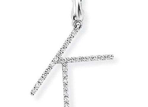 K White Gold & Diamond Initial Pendant