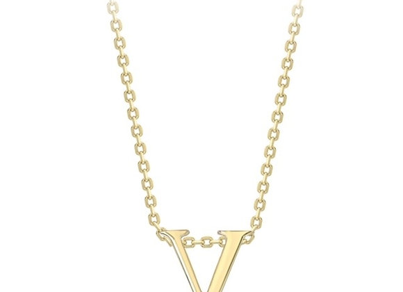 V Yellow Gold Pendant & Chain