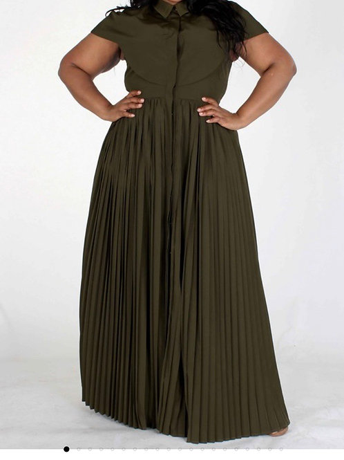Olivia Pleated Maxi Dress (Olive)