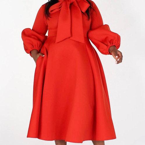 Fire Red Bow Tie Midi Dress