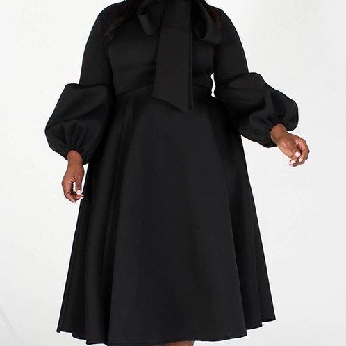 Black Beauty Bow Tie Midi Dress