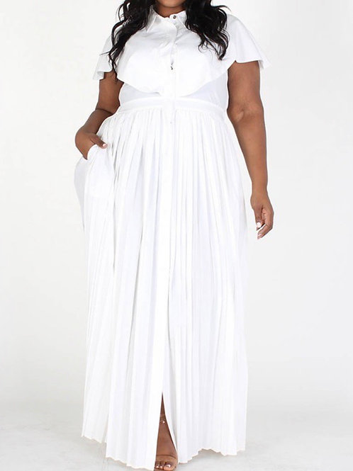 Snow White Maxi Pleated Maxi Dress