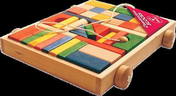 Klocki drewniane kolorowe w wózku