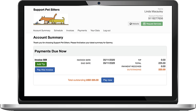 Laptop showing credit card processing for pet sitting software in Pet Sitter Plus