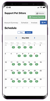 Mobile showing schedule in client portal for dog walking software in Pet Sitter Plus