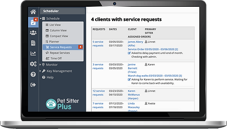 Laptop showing service request dashboard for admins in dog walkers and pet sitters software