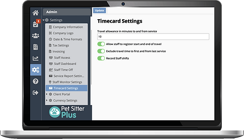 Laptop showing time recording for dog walker software from Pet Sitter Plus