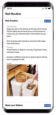 Mobile showing client mobile feature for dog walking software from Pet Sitter Plus