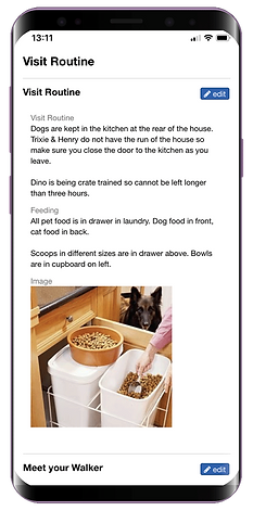 Mobile showing the visit routine for dog walking software from Pet Sitter Plus