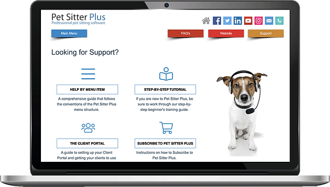 Laptop showing Help and support for dog walking software from Pet Sitter Plus