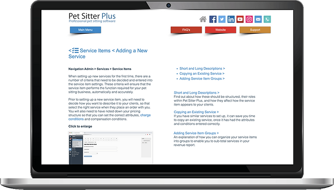 Laptop showing Help system for dog walking software from Pet Sitter Plus