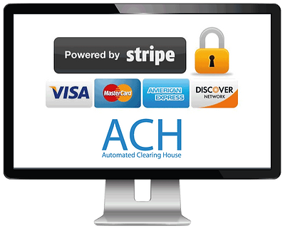 Computer showing credit card payments for Pet Sitter Plus dog walking software