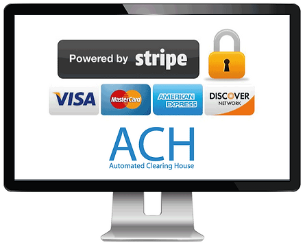 PC showing credit card processing for pet sitting software in Pet Sitter Plus