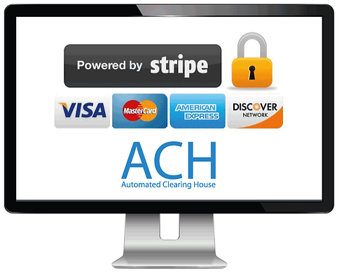 Computer showing credit card and ACH for dog walking software from Pet Sitter Plus