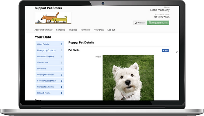 Laptop showing Client profiles in client portal for pet sitting software in Pet Sitter Plus