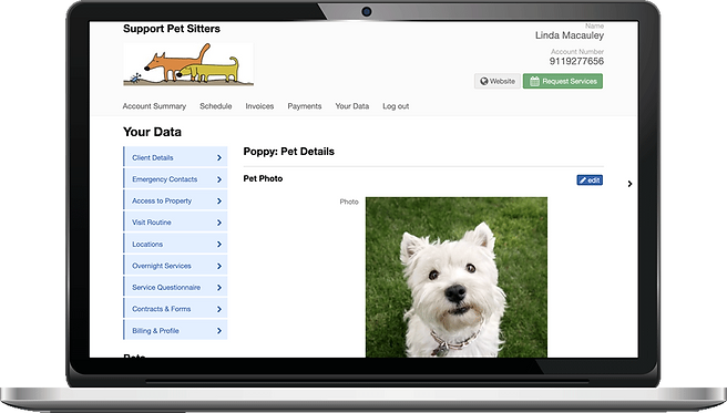 Laptop showing pet profile in client portal for dog walking software in Pet Sitter Plus