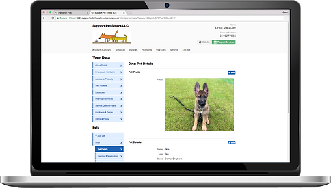 Laptop showing the staff access permissions for dog walking software from Pet Sitter Plus