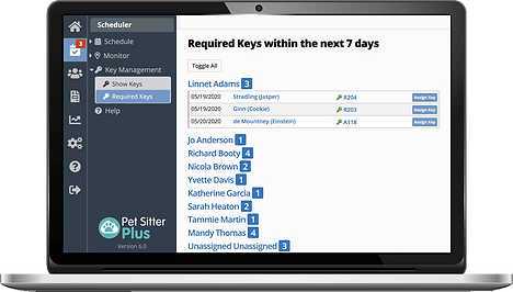 Laptop showing the required keys list in dog walking software from Pet Sitter Plus