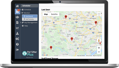 Laptop showing GPS staff activity feature for dog walking software from Pet Sitter Plus