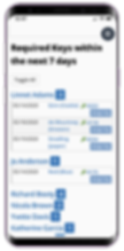 Mobile showing the required keys list for dog walking software from Pet Sitter Plus