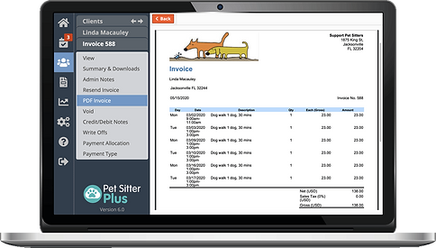 Laptop showing invoices settings for dog walking software from Pet Sitter Plus
