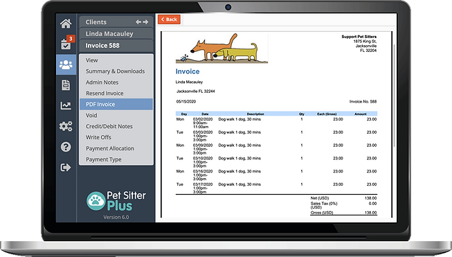 Laptop showing invoicing tools for pet sitting software in Pet Sitter Plus