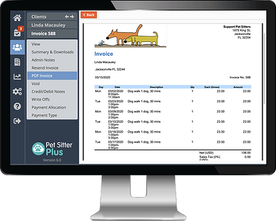 Computer with client portal list of invoices for payment in dog walker software