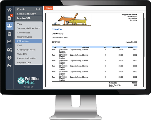Create professional invoices with dog boarding software from Pet Sitter Plus