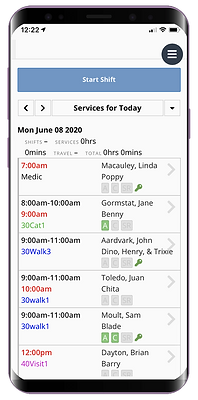 Mobile showing the daily schedule in the staff dashboard in pet sitting software