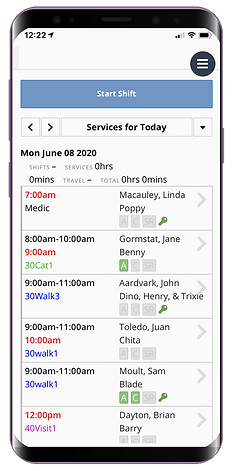 Mobile showing non chargeable services for dog walking software from Pet Sitter Plus