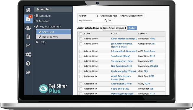 Laptop showing issued keys in dog walker software from Pet Sitter Plus